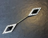 Vintage jewellery short art deco black and diamante double ended hat pin 3.25 inches