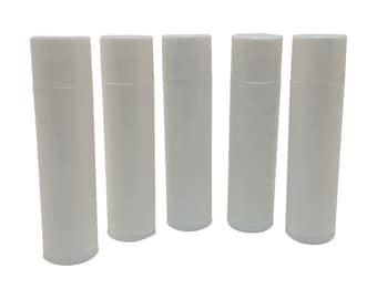 Set of 10 Empty Lip Balm Tubes Lip Balm Containers WHITE