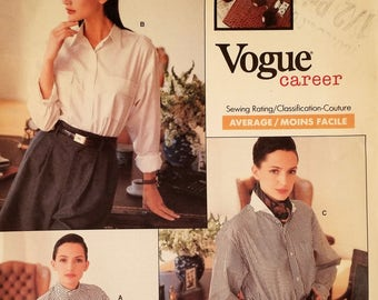 Vogue 2136, Vintage Sewing Pattern from 1988, Misses Very Loose-Fitting Shirt with Collar, Size 18-20-22, Never Used