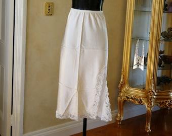 Vintage Ivory Glossy Satin Poly and Lace Half-Slip, Petticoat, Size UK 14 (306)