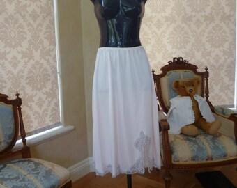 Vintage 1980s Pink Half Slip, Petticoat in Silky Heavy Nylon by Charnos, UK 12-14, US 8-10, (466)