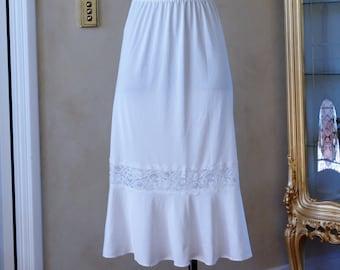 Vintage 1980s White Silky A-Line Half Slip, Petticoat by St Michael Size UK 16-18, (267)