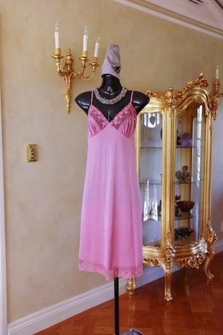 Vintage 1980s Rose Pink Sheer Nylon and Lace Full Slip, Petticoat Size 38 UK 14-16 (333)