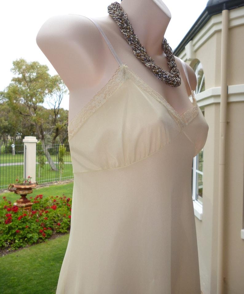Vintage 1950s Lemon Silky Sheer Nylon and Full Slip in Soft Silky Nylon Petticoat Size M 071