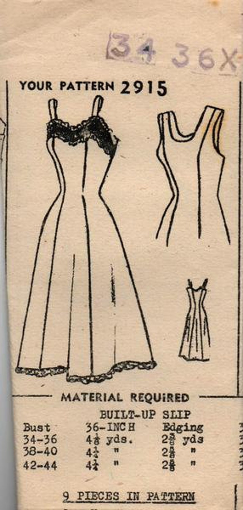3bda25623dd9f 1950s Mail Order Lingerie Pattern - Full Slip - Pattern 2915 - Bust 34 - 36  Inches Unused and Factory Folded (P015)