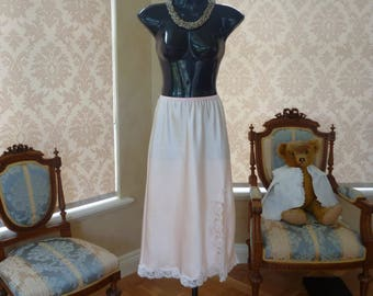 Vintage 1990s Pearch Glossy Satin Poly and Lace Half Slip, Petticoat, Under Slip, Size UK 14 Tall, US 10 (472)