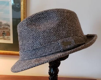 22ef09967a1 Vintage Dobbs Gray Tweed Fedora  Man s hat  Harris Tweed  Downton Abbey  Costume