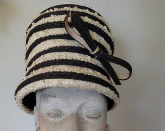 9d2da0103c3 Vintage Miss Dior Straw Toque Lady s Hat  Vintage Fashion   Christian Dior   1950s- 1960s  Embellsihed with a Straw Bow  Navy and Off-white