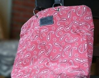 Neiman Marcus Red Paisley Bandana Market Bag Grocery Boho Hipster