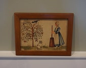 Vintage 1980 39 s Jean Henry Theorem Painting featuring a Cat and Butter Churn Painting on Velvet