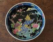 Antique Nippon Bowl Famille Noire with Blue Dragon Meiji Period 1910 Preppy Decor Antique Imari Made in Japan