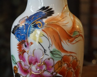 Vintage Blue and White Porcelain Bottle Neck Vase Chinese Poem