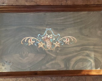 Vintage 1940s Wood Tray - Wood and Glass Fruit Design Tray