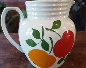 Vintage Bareuther Bavaria Waldsassen Pitcher with Red and Yellow Apples