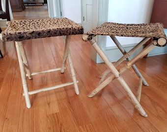 Vintage Bamboo Folding Chairs - set of 2 Bamboo Folding Chairs with Leopard Print Fabric Chic camp stools