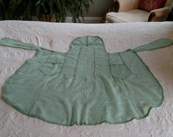 Vintage 1920's Apron/ Art Deco Inspired/ Hostess Apron Green Voile/ Pinner Apron