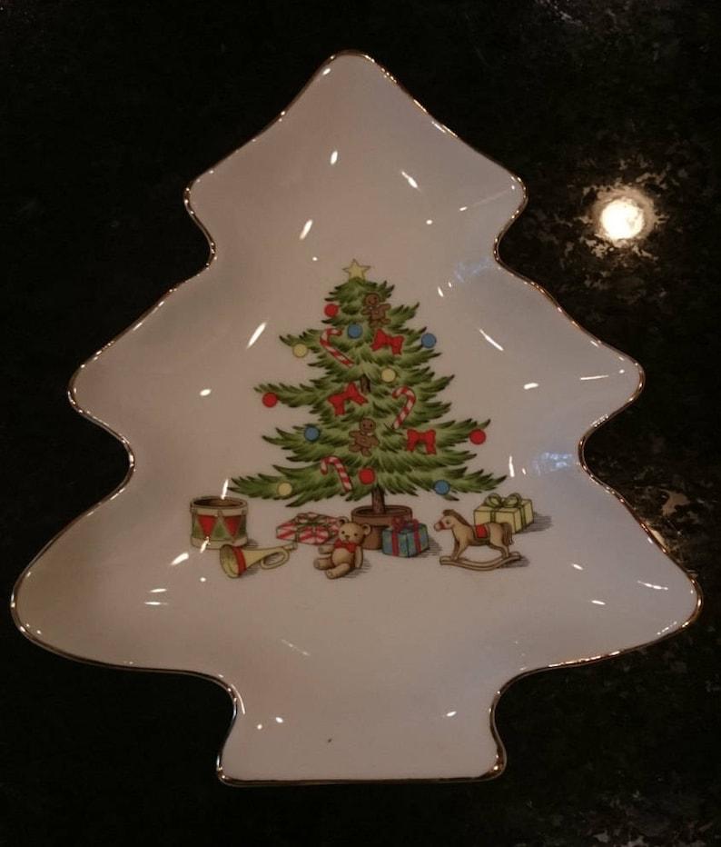 Vintage Holiday Hostess Japan Christmas Tree Dish Or Cookies For Santa Made In Japan