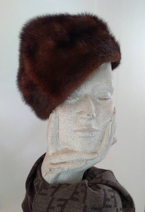 Vintage 1960s Mink Pillbox Fur Hat - An Original b