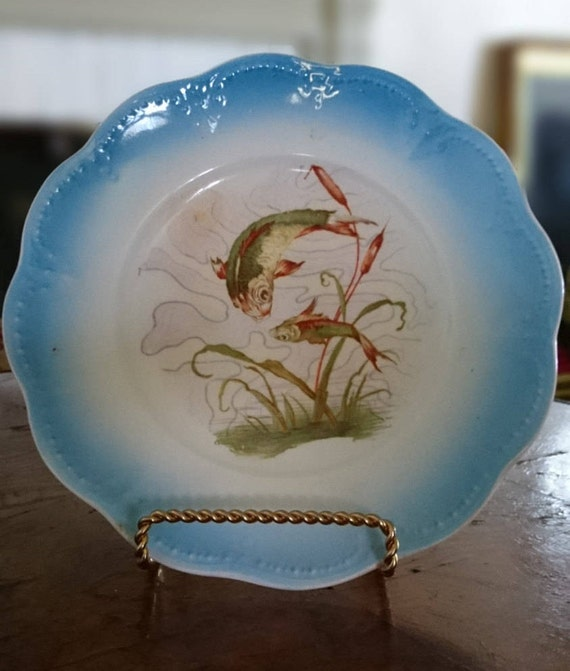 Blue Limoges China Fish Plate Etsy