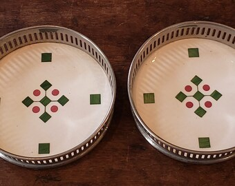 Vintage Silvers Brooklyn Coasters - Reticulated and Ceramic Coasters - made in Germany