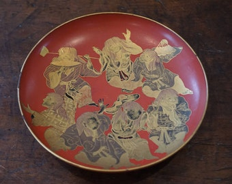 Vintage Japanese Orange Lacquer and Gold Bowl or Dish - 1940s Japanese Orange Lacquer - 7 Happy Gods