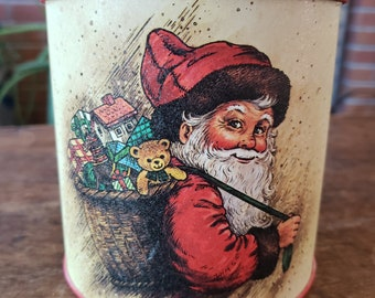 Vintage Potpourri Press Santa Tin - 1980s Santa Tin - Potpourri Press Greensboro NC