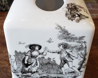 Vintage Liette Toile Tissue Box Cover - Black White Chinoiserie Tissue Box Cover - hand decorated in the U.S.