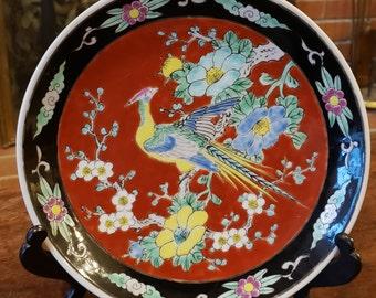 Vintage 1930s Japanese Pheasant Plate - Orange Chinoiserie Pheasant Plate hand painted