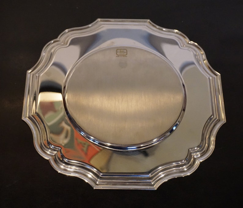 made in France Vintage Jean Couzon Orfevre Stainless Tray or Charger nearly 12 inch diameter