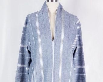Striped cotton linen dress, relaxed fit dress, pullover dress