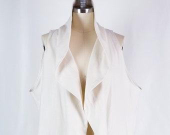 cotton, linen, cream, beige, vest, coat, jacket, large collar, pockets, sleeveless