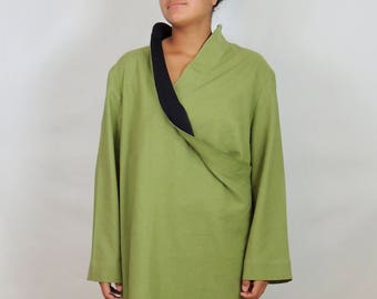 Green long sleeves relaxed fit dress