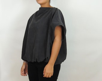 Corduroy gray blouse, relaxed fit, elastic gathering