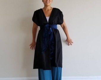 cotton, sleeveless, vest, coat, jacket, black, pleated shoulders