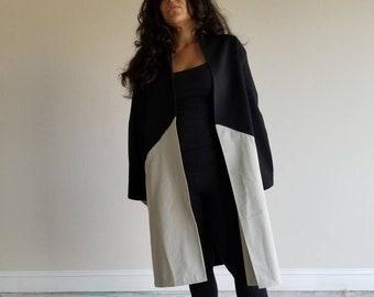black, tan, cotton, coat, long sleeves, two tone