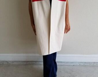 vest, coat, cotton, natural, beige, red