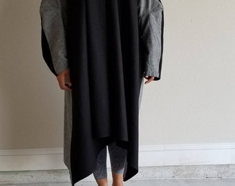linen, cotton, coat, jacket, two color, black, gray,