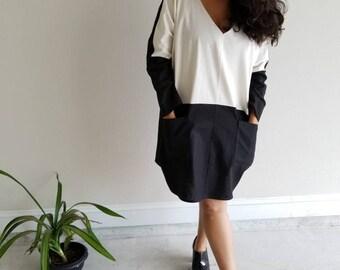 cotton, linen, dress, large blouse, pockets, long sleeves, v neck