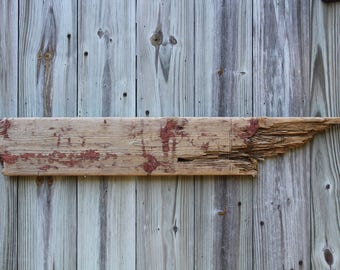 Driftwood Wall Hanging Weathered Red Paint