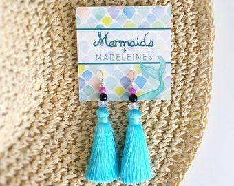 NEW light blue silk tassel earrings, blue aqua tassel earrings, statement jewelry, bold accessories, cocktail party accessories