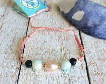 Macrame Woven Friendship Bracelet with Semiprecious and Sterling Beads - Sand Beach
