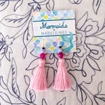 Silk Tassel Earrings featuring semiprecious and sterling silver- light pink midi