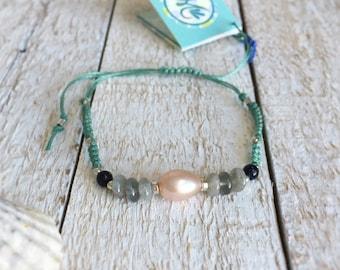 Macrame Woven Friendship Bracelet with Semiprecious Beads- Goose Rocks Beach