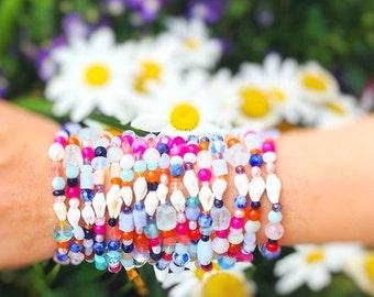 Treasure Bracelet, fun bright stretchy bracelet, rainbow bracelet, semiprecious beaded jewelry, colorful accessories, summer jewelry, gift