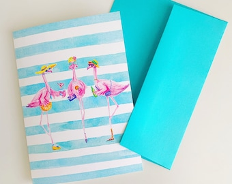 Flamingo blank greeting card and card packs, note cards, neon pink flamingos, flamingals, preppy art, tropical thank you card, birthday gift