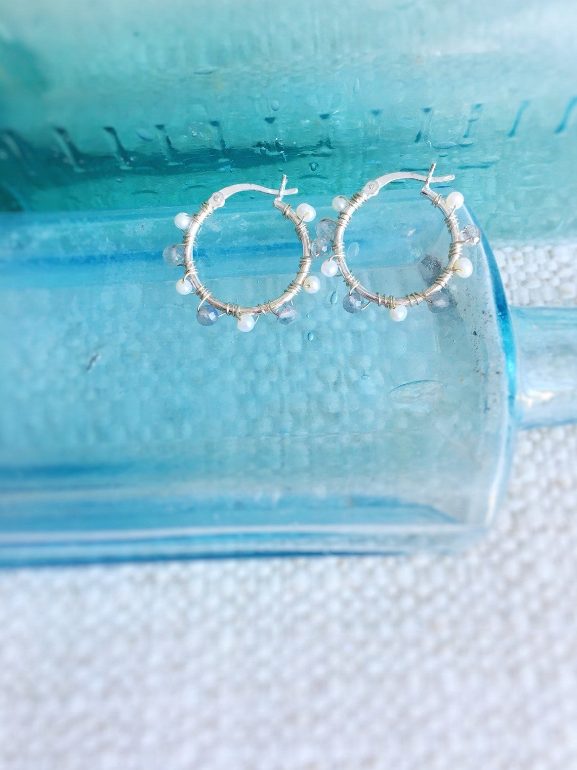 Icicle Hoop Earrings gleaming stwrling silver hoops with wire image 0