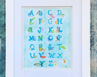 New England Alphabet Print, letter art, 8x10 art print, watercolor marker illustration print, abc baby room decor