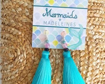 NEW bright teal silk tassel earrings, summer jewelry, statement earrings, tassel accessories, aqua jewelry, dangle earrings, aqua gifts