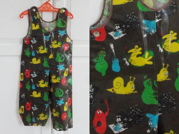 70s Vintage Children Rain Overall // Green With Fu