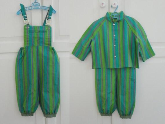 Cute 60s Vintage Children Rain Suit // Green Purpl